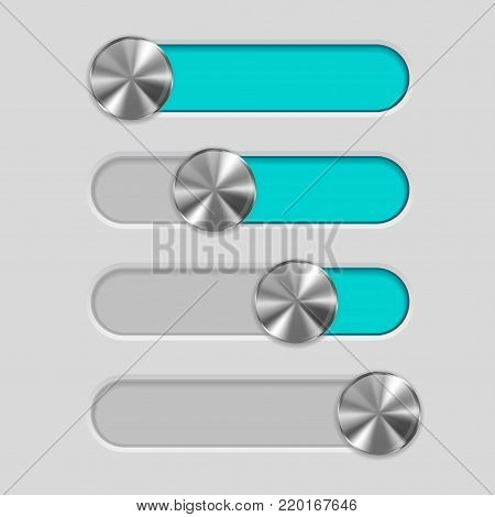 Web interface slider. User interface blue control bar on gray background. Vector illustration