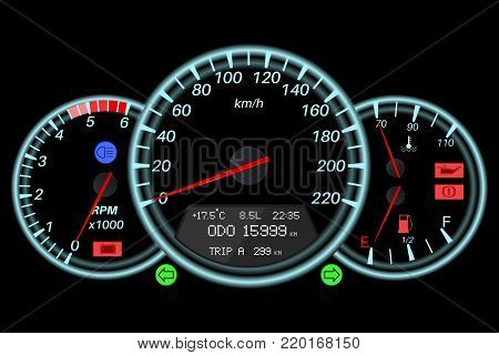 Speedometer. Sport car black dashboard. Car computer. Vector illustration on black background