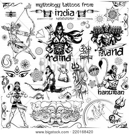 illustration of Tattoo art design of Lord Rama, Ravana and Hanuman collection with text in Hindi Namah Shivaya I bow to Shiva