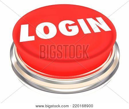 Login Button Press Push Verify Credentials 3d Illustration