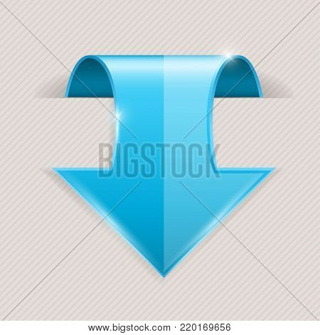 Blue DOWN arrow. 3d icon with transparent shadow. Vector illustration on gray background
