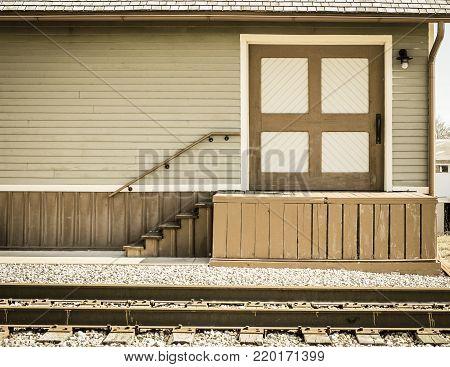 Historic Train Station Platform. Historical train station platform in the American Midwest.