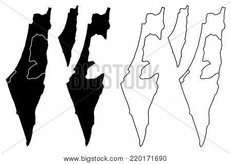 Israel map vector illustration, scribble sketch State of Israel, West Bank and Gaza Strip