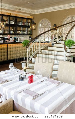 Moscow, Russia - July 8, 2011 - Restaurant interior detail shot