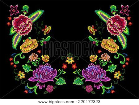 Embroidery neckline pattern with colorful simplify flowers. Vector embroidered floral patch for clothing design.