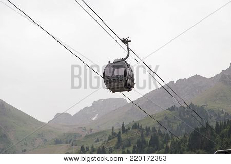 cableway in the mountains of Kazakhstan. Chimbulak .