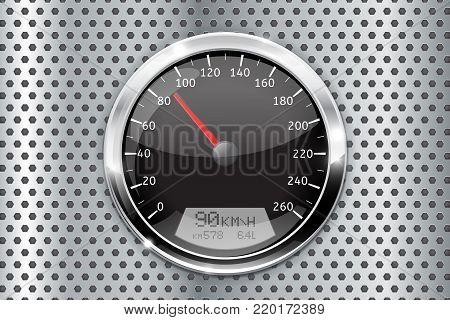 Speedometer. Black speed gauge on metal perforated background. Vector 3d illustration
