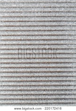 washboard goffered gray metal sheet background texture