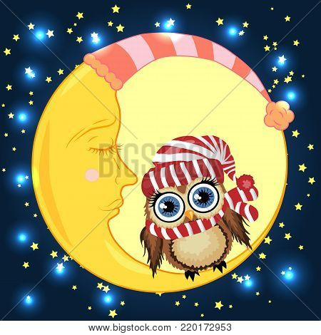A lovely cartoon brown owl in a red hat sits on a drowsy crescent moon against the background of the night sky with stars