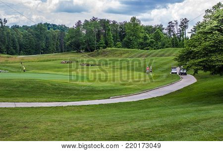 Somerset, Kentucky, USA - May 29, 2015: Golf course at General Burnside State Park was voted the number one golf course in Kentucky by readers of Kentucky Living Magazine.