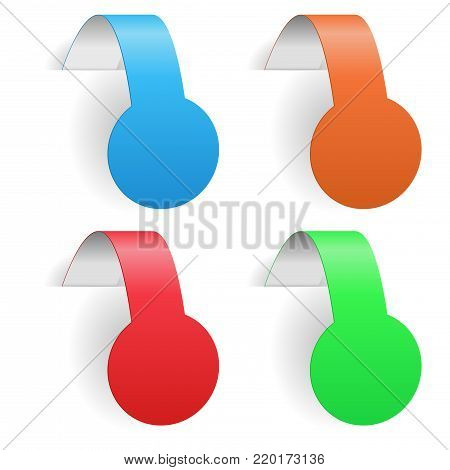 Colored round paper labels. Blank price tags with transparent shadow. Vector 3d illustration