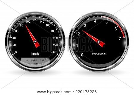 Speedometer and tachometer. Black round gauge with chrome frame. Vector 3d illustration