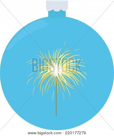 Bengal or indian light sparkler, Bengal fire on blue christmas ball. Salute element for celebration of holidays and parties