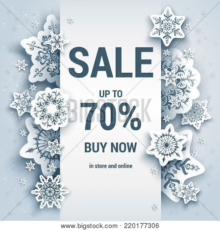 Winter sale off template with paper cut snowflakes. Seasonal advertising for banner, poster, leaflet and so on. Realistic effect.