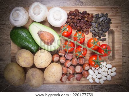 Natural Products Rich In Potassium (k) . Healthy Food Concept.
