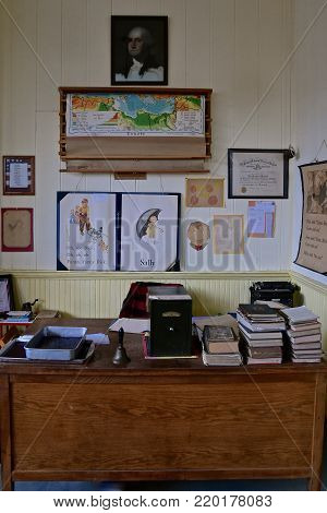 ROLLAG, MINNESOTA, Sept 3. 2017: A rural schoolhouse and teacher's desk depicting the the mid 1900`s  and older is displayed at the annual WCSTR farm show in Rollag held each Labor Day weekend where 1000`s attend.