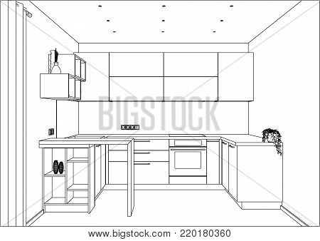 3D vector sketch. Modern kitchen design in home interior. Kitchen sketch with decorations and appliances. There is also a kitchen peninsula in the room.