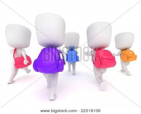 3D Illustration of Preschool Students Walking to School (Back)