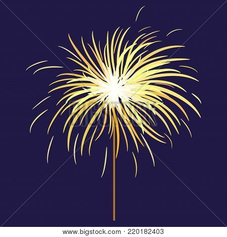 Bengal or indian light sparkler, Bengal fire on dark blue background. Salute element for celebration of holidays and parties