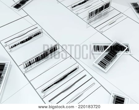 Bar code technology device slots and cards, 3d illustration, horizontal
