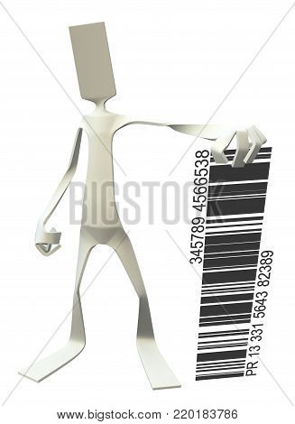 Paper man symbolic figure pose standing with bar code, 3d illustration, vertical, isolated