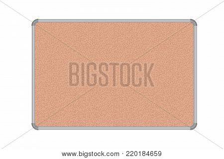 Cork board with aluminum frame, isolated on white background - vector