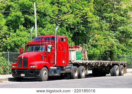 Palenque, Mexico - May 22, 2017: Semi-trailer truck Kenworth T600 in the city street.