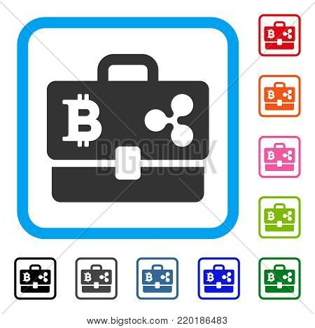 Cryptocurrency Portfolio icon. Flat grey iconic symbol in a blue rounded square. Black, gray, green, blue, red, orange color versions of Cryptocurrency Portfolio vector. Designed for web and app UI.