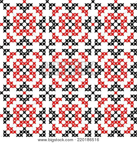 Seamless embroidered texture of abstract flat patterns, cross-stitch, ornament for cloth