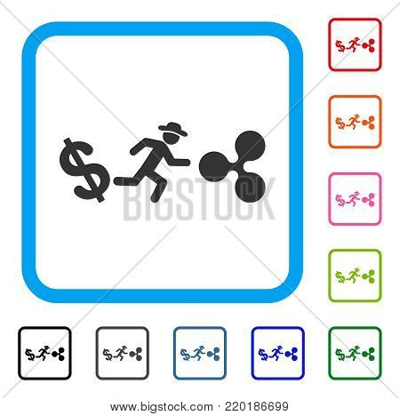 Gentleman Run From Dollar To Ripple icon. Flat gray iconic symbol inside a blue rounded frame. Black, gray, green, blue, red, orange color versions of Gentleman Run From Dollar To Ripple vector.