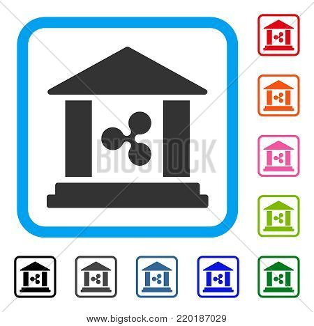 Ripple Bank Building icon. Flat gray pictogram symbol in a blue rounded rectangle. Black, gray, green, blue, red, orange color versions of Ripple Bank Building vector. Designed for web and app UI.