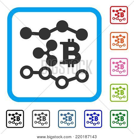 Ripple Bitcoin Trends icon. Flat grey pictogram symbol inside a blue rounded rectangle. Black, gray, green, blue, red, orange color variants of Ripple Bitcoin Trends vector.