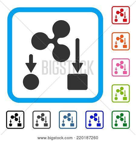 Ripple Cashflow icon. Flat grey pictogram symbol inside a blue rounded rectangle. Black, gray, green, blue, red, orange color variants of Ripple Cashflow vector. Designed for web and application UI.