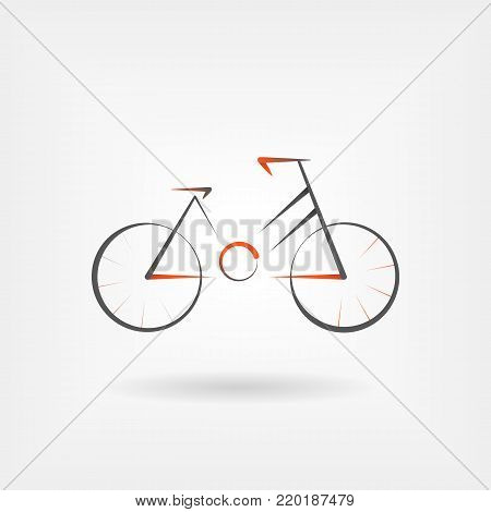 Modern vector logo for bicycle in orange style. Design concept for eco tourism and bicycle shop in line style. bicycle angular concept. Line icon in flat style