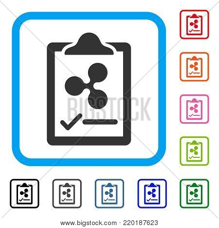 Ripple Contract Pad icon. Flat grey iconic symbol in a blue rounded square. Black, gray, green, blue, red, orange color additional versions of Ripple Contract Pad vector.
