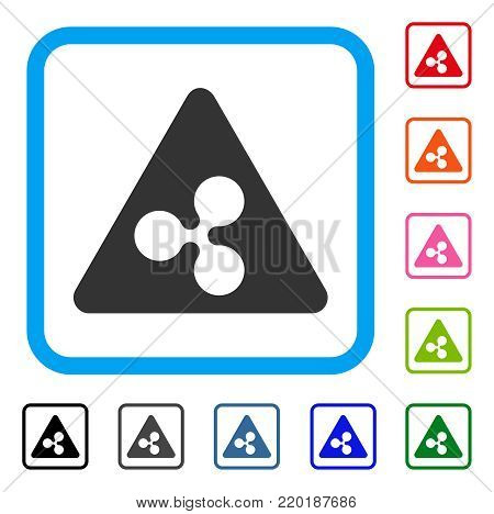 Ripple Danger icon. Flat gray iconic symbol inside a blue rounded frame. Black, gray, green, blue, red, orange color variants of Ripple Danger vector. Designed for web and software interfaces.