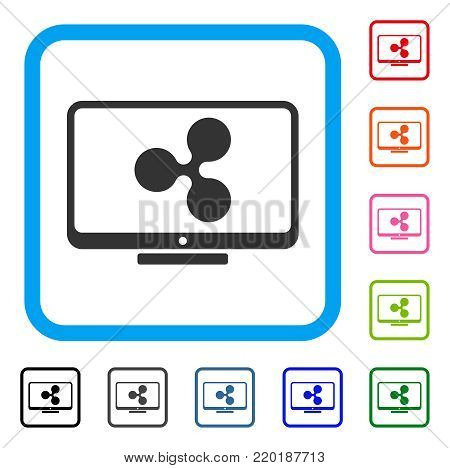 Ripple Display icon. Flat grey pictogram symbol inside a blue rounded squared frame. Black, gray, green, blue, red, orange color variants of Ripple Display vector. Designed for web and app interfaces.