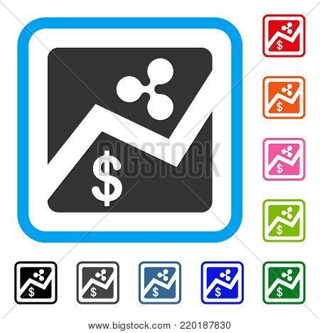 Ripple Dollar Exchange Market icon. Flat gray iconic symbol in a blue rounded square. Black, gray, green, blue, red, orange color additional versions of Ripple Dollar Exchange Market vector.