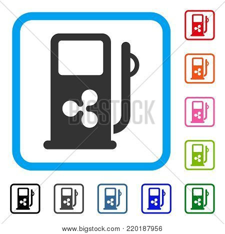 Ripple Fuel Station icon. Flat gray pictogram symbol inside a blue rounded square. Black, gray, green, blue, red, orange color variants of Ripple Fuel Station vector.