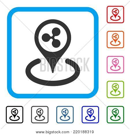 Ripple Location icon. Flat grey iconic symbol inside a blue rounded rectangle. Black, gray, green, blue, red, orange color additional versions of Ripple Location vector.
