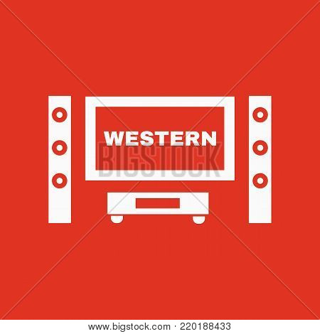 Western movie icon. TV and Home theater, cinema symbol. Flat design. Stock - Vector illustration
