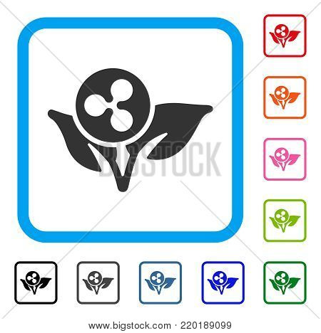 Ripple Sprout Startup icon. Flat gray iconic symbol in a blue rounded rectangle. Black, gray, green, blue, red, orange color additional versions of Ripple Sprout Startup vector.