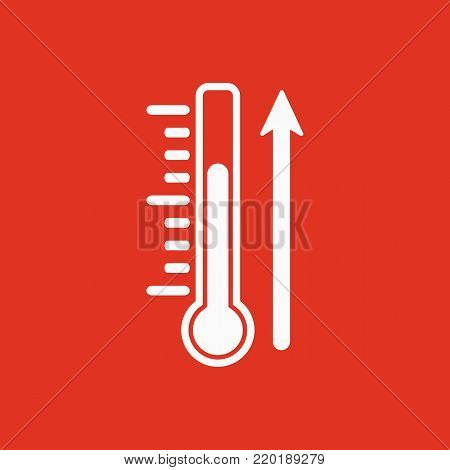 Rise in temperature icon. Thermometer and meteorology, hot symbol. Flat design. Stock - Vector illustration