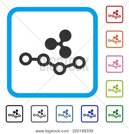 Ripple Trend icon. Flat gray pictogram symbol in a blue rounded rectangle. Black, gray, green, blue, red, orange color additional versions of Ripple Trend vector.