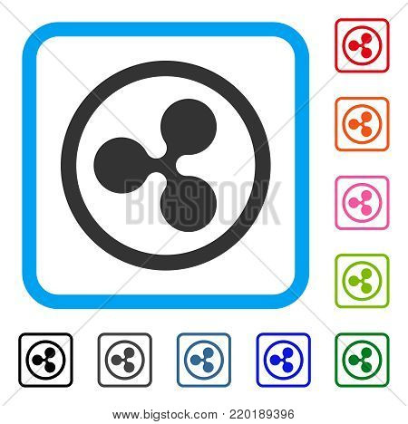 Rounded Ripple icon. Flat gray pictogram symbol inside a blue rounded frame. Black, gray, green, blue, red, orange color additional versions of Rounded Ripple vector.