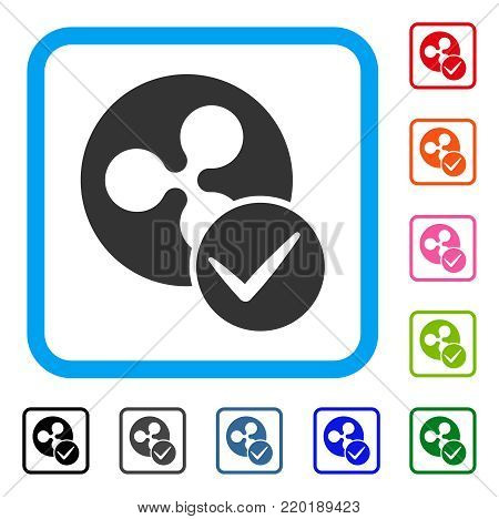 Valid Ripple Coin icon. Flat grey pictogram symbol in a blue rounded square. Black, gray, green, blue, red, orange color variants of Valid Ripple Coin vector. Designed for web and app user interface.