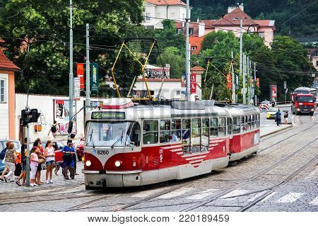 Prague, Czech Republic - July 21, 2014: Tramway Tatra T3R in the city street.