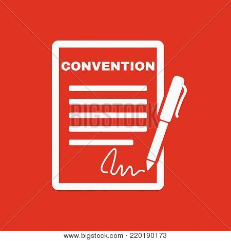 Convention icon. Contract and signature, pact, accord, agreement symbol. Flat Vector illustration