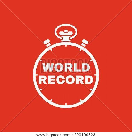 Stopwatch with the word world record icon. symbol. Flat design. Stock - Vector illustration