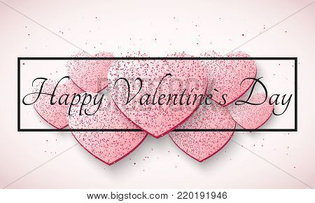 Abstract romantic light background for Valentines day. Light pink hearts from glitters. Luxury card for Valentines day. Black banner with text. Vector illustration.